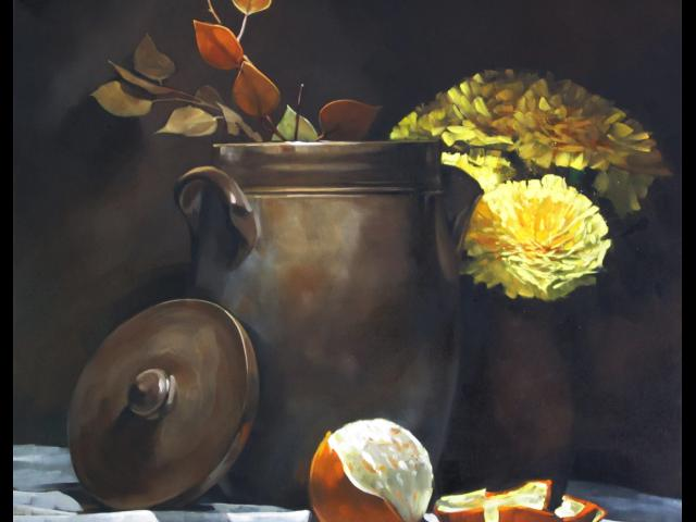 Seed Pot Flowers, Oil on Canvas