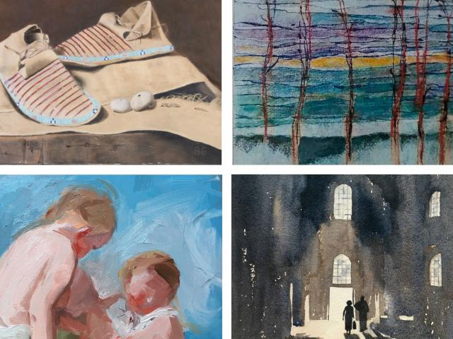 After the Dance, oil, Beatrice Golden; World of Water, monotype, Smita Rao; Boucher Study, oil, Victoria Kousaros; San Vitale, watercolor, Julia Rix