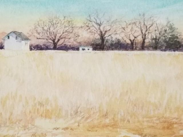 White Farmhouse, Watercolor, Susannah Hart Thomer