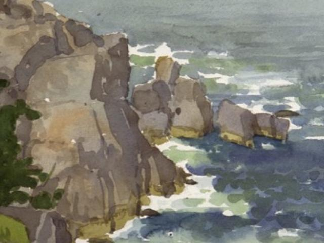 Pulpit Rock, Monhegan, watercolor