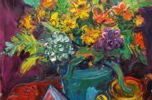 Chuck Connelly, Still Life on Purple, 30 x 24