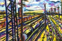 Train Yard in Violet, Oil, Marta Sanchez